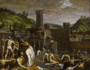 Oil painting of almost naked men in outdoor pool with medieval castle in background
