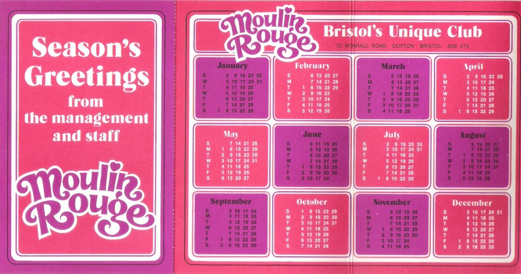 "Cerise and purple calendar for 1972 with text ""Moulin Rouge"" and ""Bristol's Unique Club"""