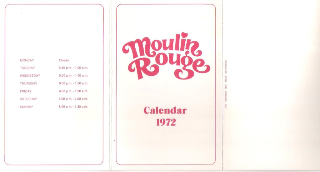 "Cover with ""Moulin Rouge Calendar 1972"" and opening times"