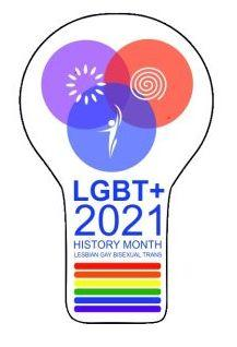 """LGBT+ 2021 history month' inside the outline of a light bulb"