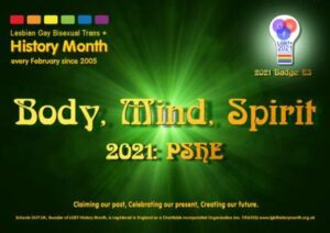 "Green poster with text ""body, mind, spirit"""