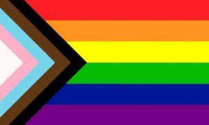 The 'Progress' pride flag comprising the six colours of the original plus white/pink/light blue representing trans people and brown and black for people of colour.
