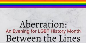 "Rainbow banner and the text ""Aberration - Between the Lines"""