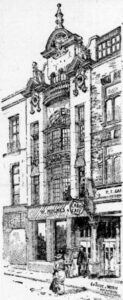 Line drawing of a narrow 3-storey building with ornate bow windows
