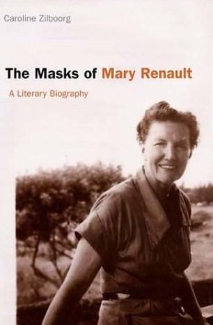 Cover of paperback book The Masks of Mary Renault with photo of Mary about 40, smiling