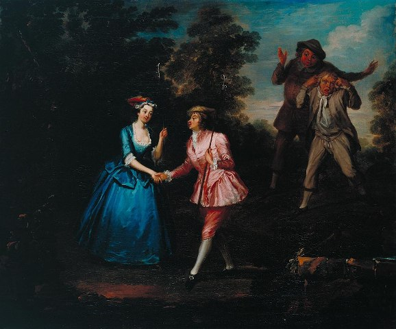 Oil painting of Charke in pink breeches shaking hands with a woman in a long blue dress. Two men in the background look on in despair.