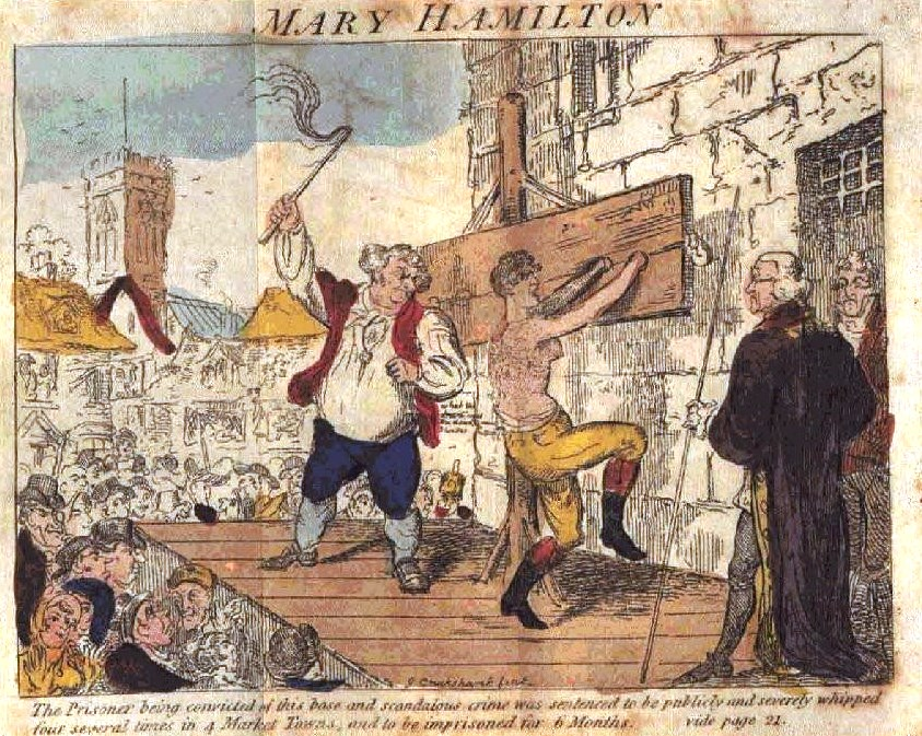 Coloured cartoon depicting Mary Hamilton, stripped to the waist, being lashed in front of a baying crowd.